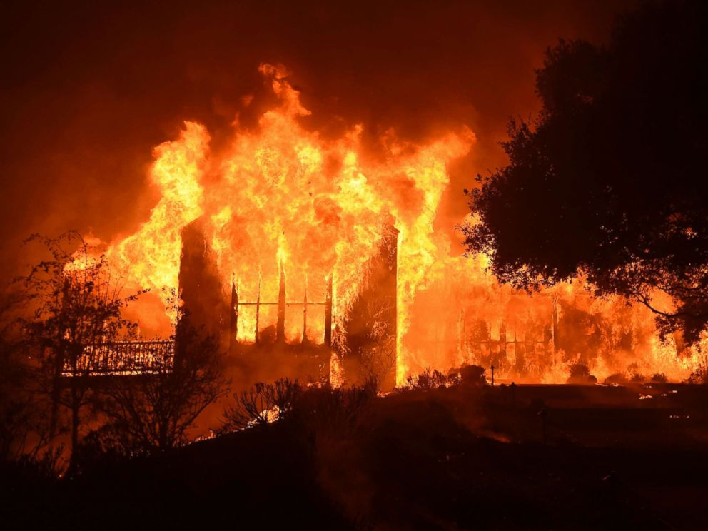 Paras Vineyards burning in Napa, California October 10, 2017
